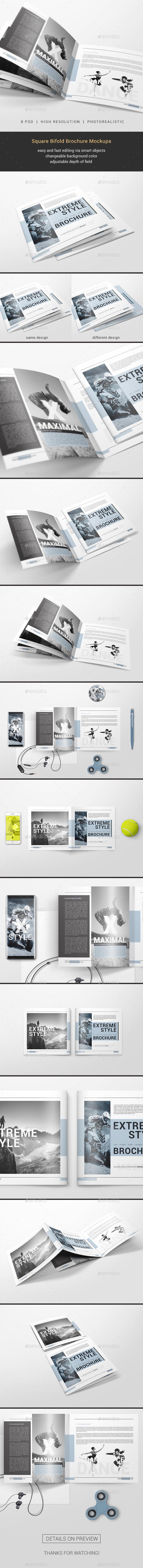 GraphicRiver Square Bifold Brochure Mockups 20869552