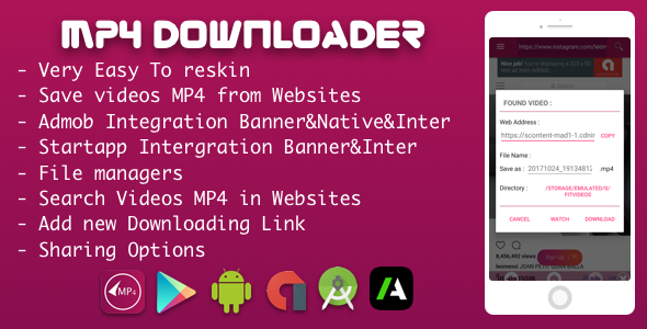 MP4 video downloader With Admob Native & Startapp