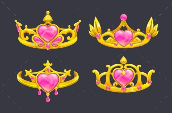 Cartoon Golden Princess Crowns Set - Man-made Objects Objects