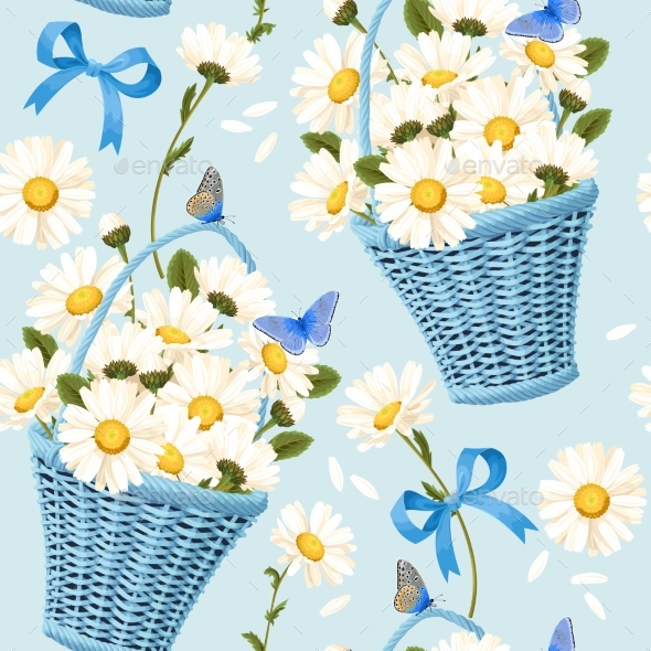 GraphicRiver Seamless Baskets of Camomiles 20869792