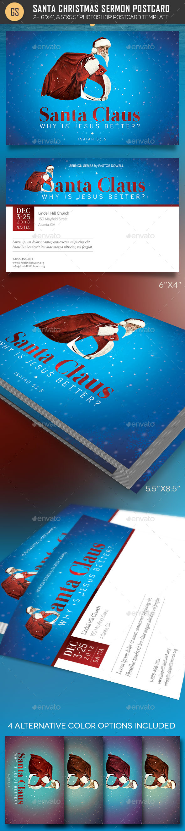 Santa Christmas Sermon Postcard Template - Church Flyers