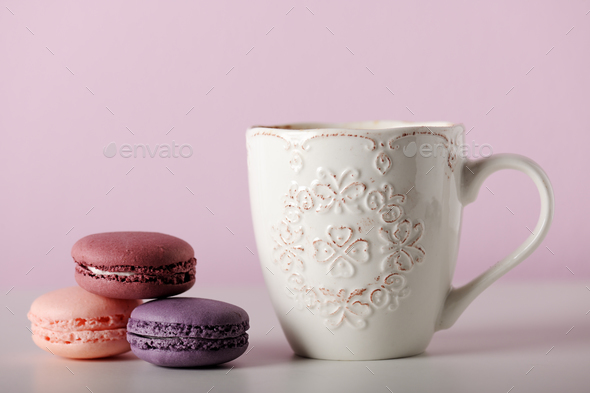 Cup with macaroons - Stock Photo - Images