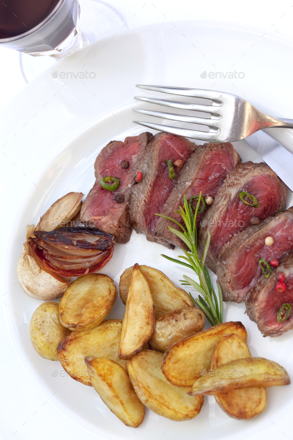 Beef steak and potatoes - Stock Photo - Images