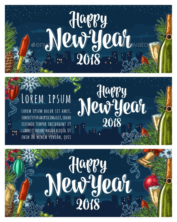 Poster Happy New Year 2018 Calligraphy Lettering - New Year Seasons/Holidays