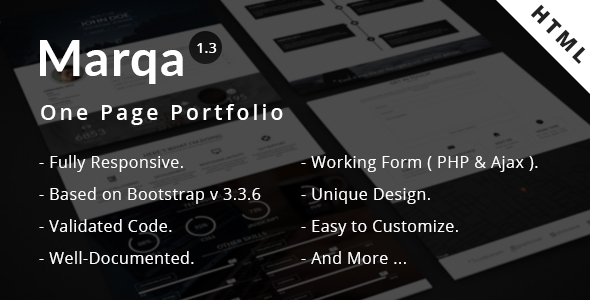 Marqa | One Page Personal & Portfolio HTML Template - Virtual Business Card Personal