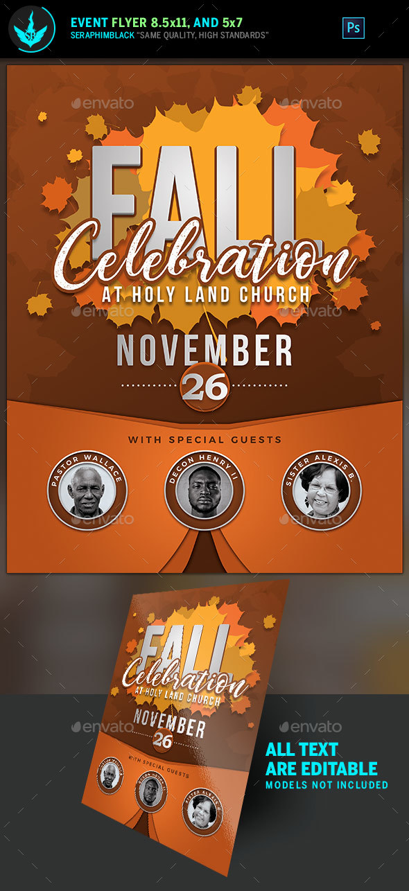 Fall Celebration Church Flyer Template - Holidays Events