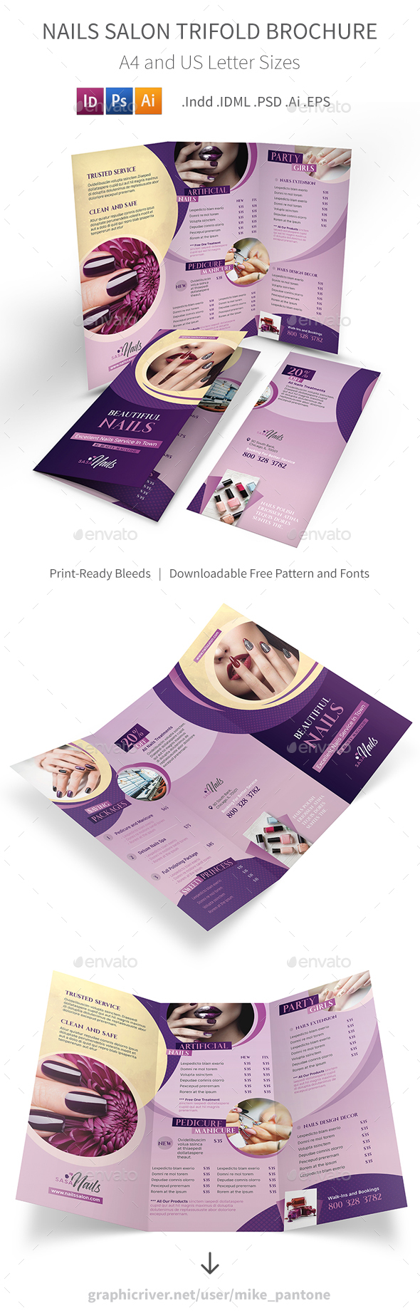 GraphicRiver Nails Salon Trifold Brochure 20870378