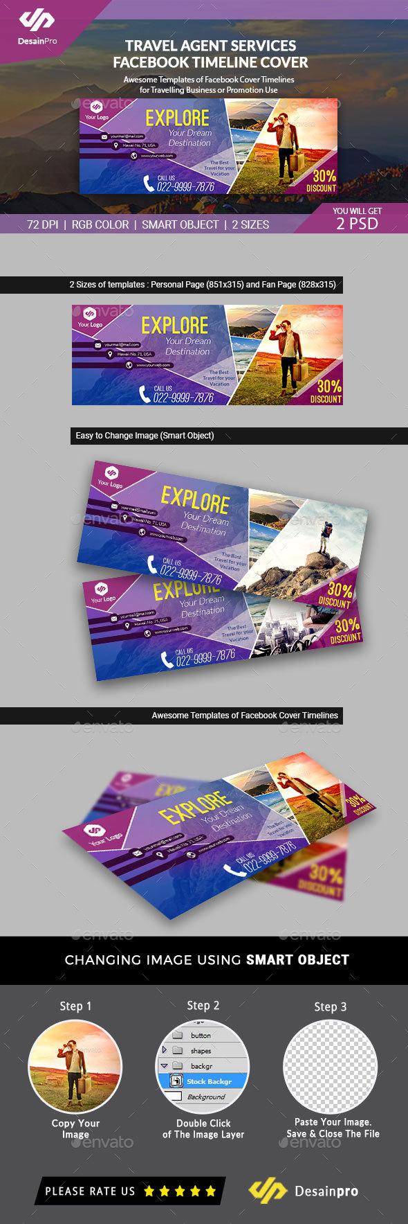 Travel Agent FB Cover Timeline Template - AR - Facebook Timeline Covers Social Media