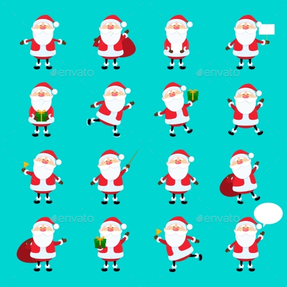 Santa Claus Icon Set in Flat Style - Christmas Seasons/Holidays