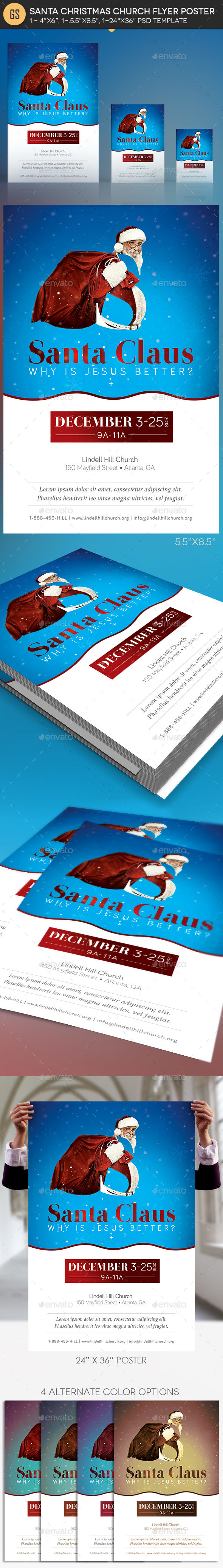 Santa Christmas Church Flyer Poster Template - Church Flyers