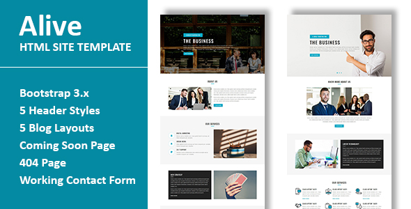 ALIVE Multipurpose Responsive HTML Site Template By Fourdinos - Html site template