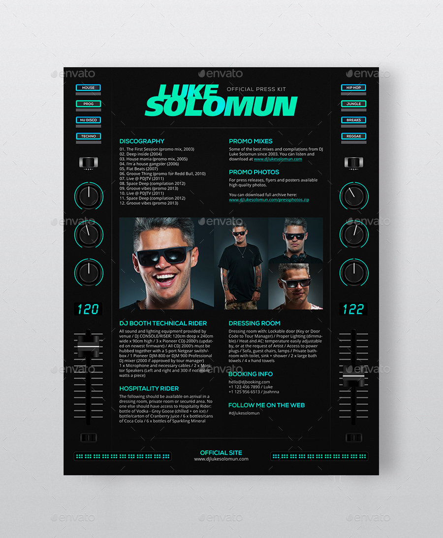 MaDJestik   DJ Press Kit / DJ Resume / DJ Rider PSD Template  Dj Resume