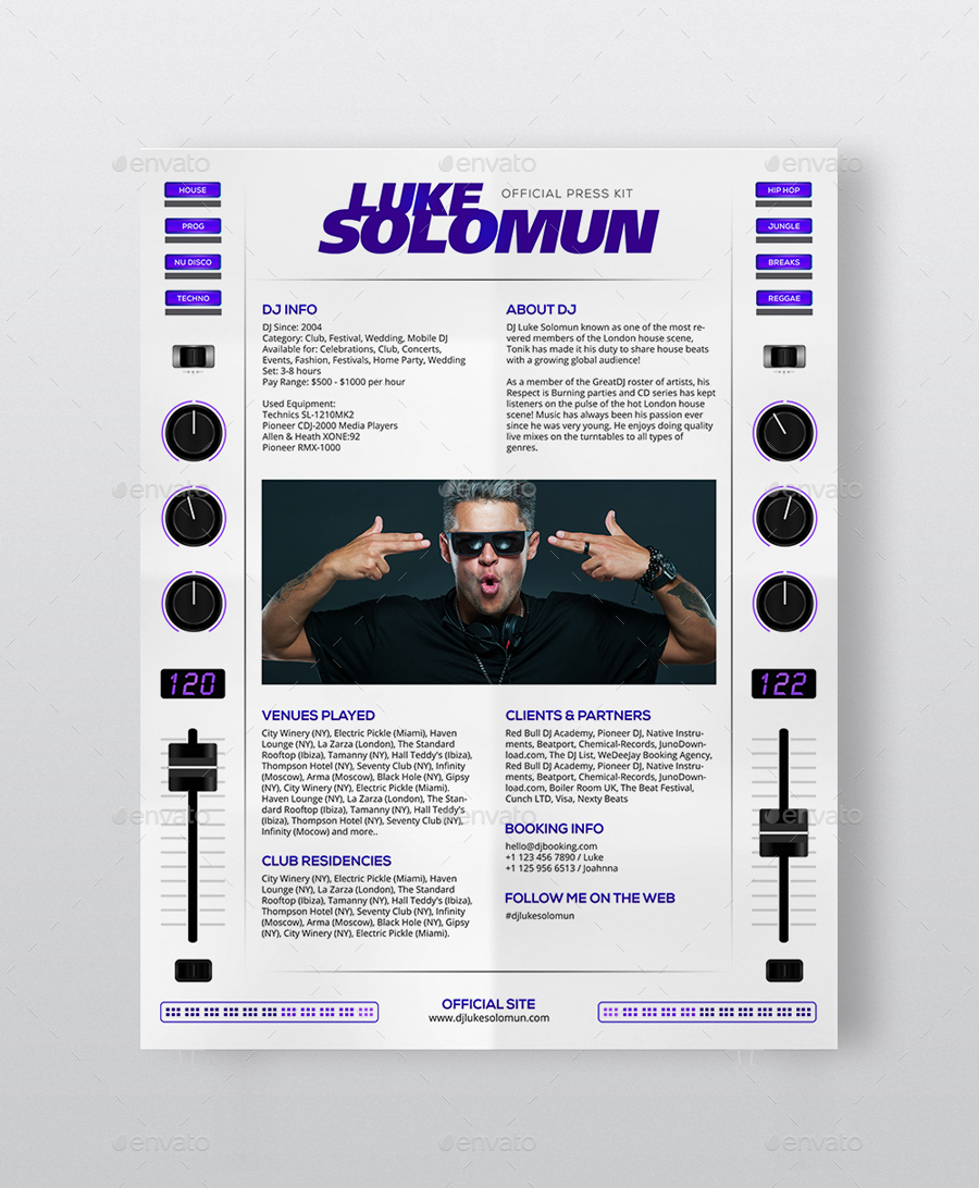 MaDJestik - DJ Press Kit / DJ Resume / DJ Rider PSD Template by ...