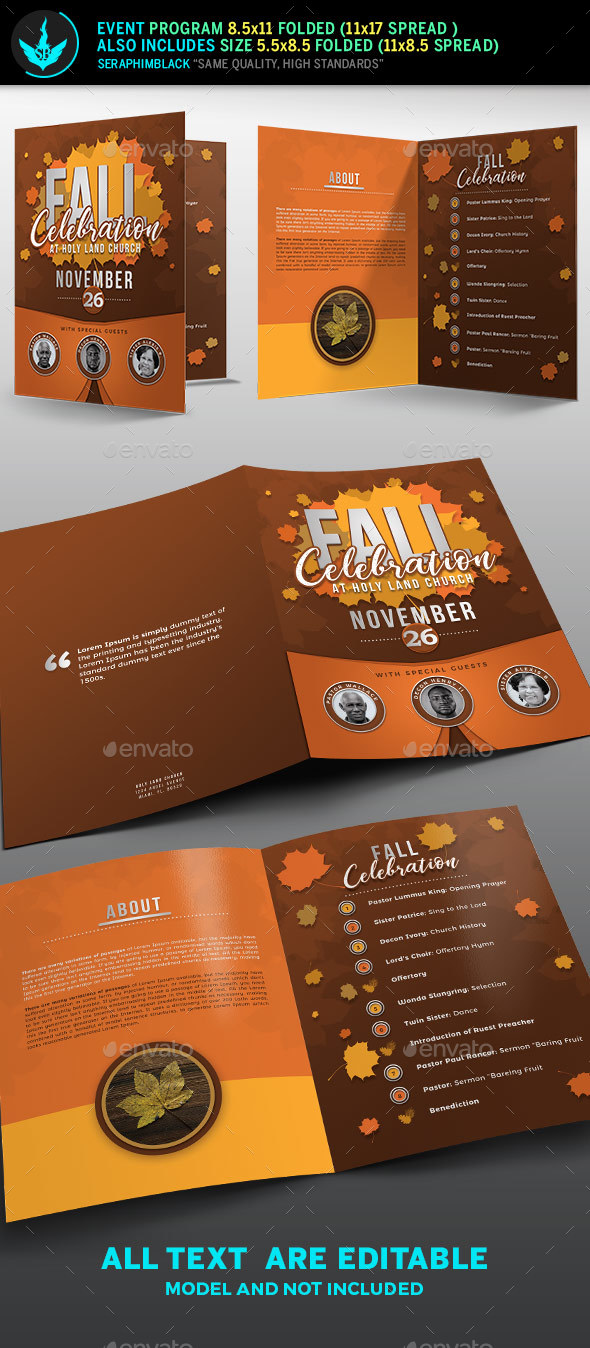 Fall Celebration Church Program Template - Informational Brochures