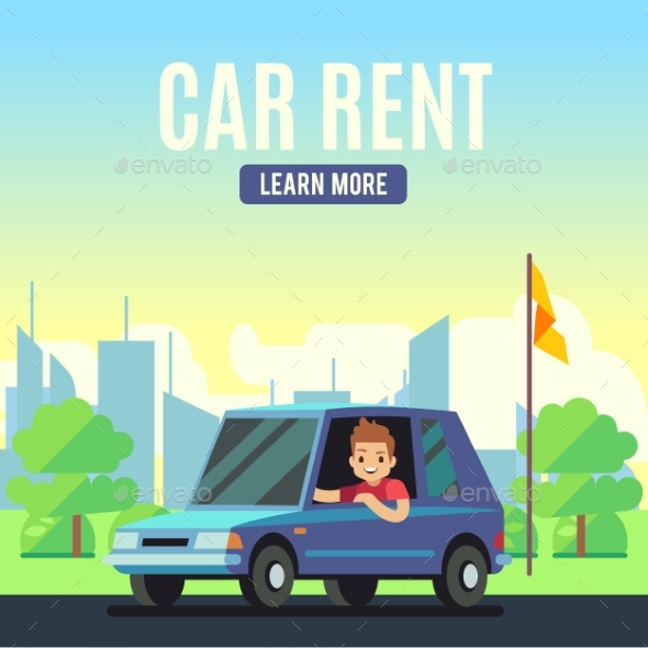 Car Rental Poster Concept - Miscellaneous Vectors