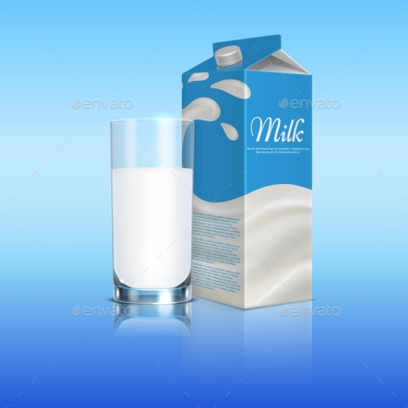 Milk Carton Box with Glass Cup - Food Objects
