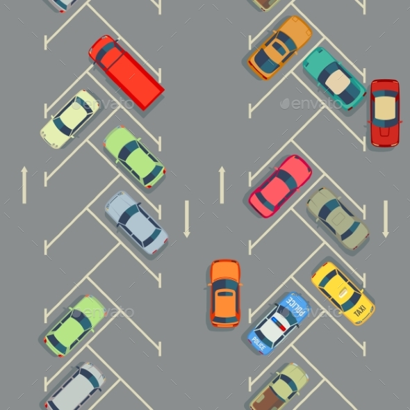 Urban Cars Seamless Texture Parking with Cars - Miscellaneous Vectors