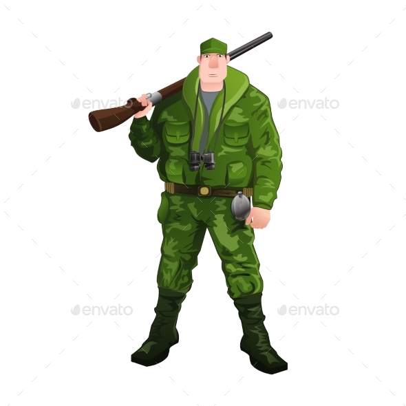 Hunter Isolated on White - People Characters