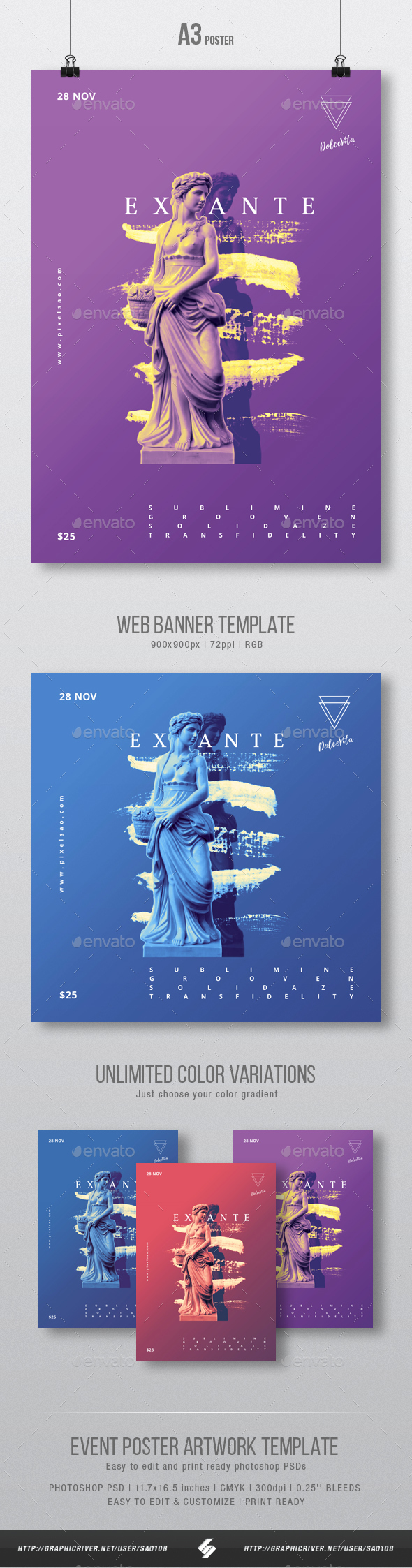 Ex Ante - Creative Party Flyer / Poster Artwork Template A3 - Clubs & Parties Events