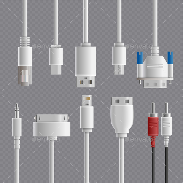 GraphicRiver Cable Connectors Transparent Set 20871977