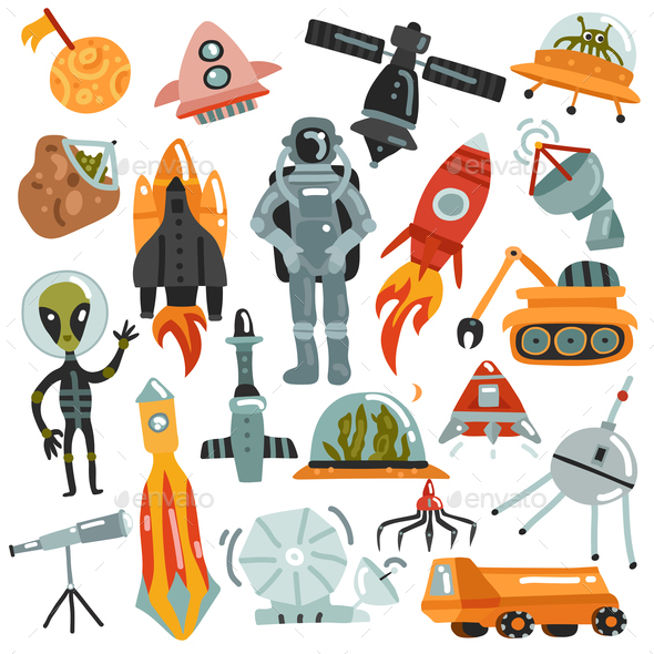 GraphicRiver Space Hand Drawn Icons Set 20871990