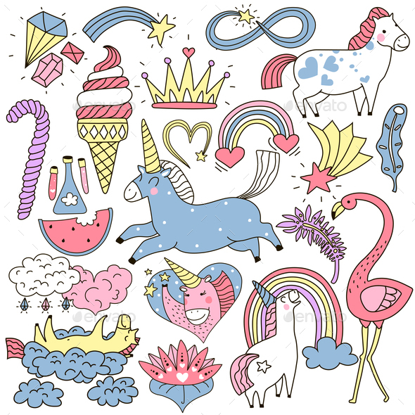 GraphicRiver Unicorn Fairy Elements Doodle Set 20871996