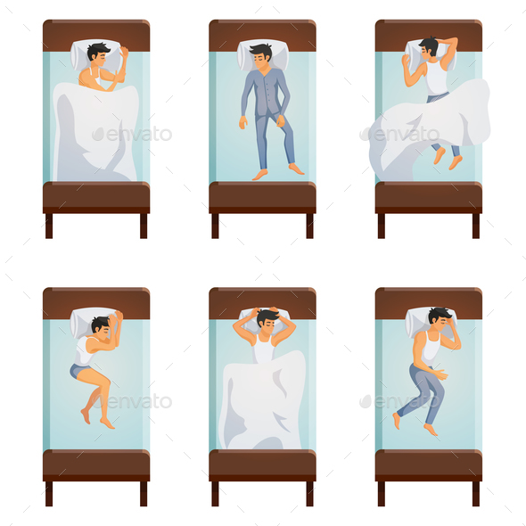 Man Sleeping Poses Set - People Characters