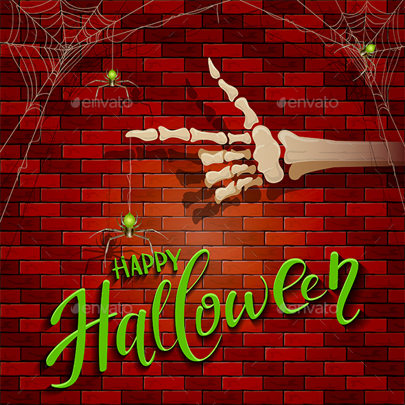 Halloween Background with Skeleton Hand and Spider - Halloween Seasons/Holidays