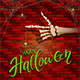 Halloween Background with Skeleton Hand and Spider