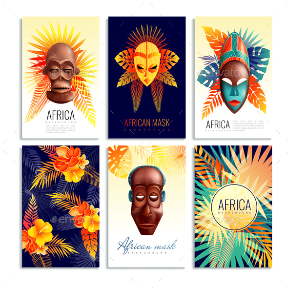 African Mask Cards Set - Religion Conceptual