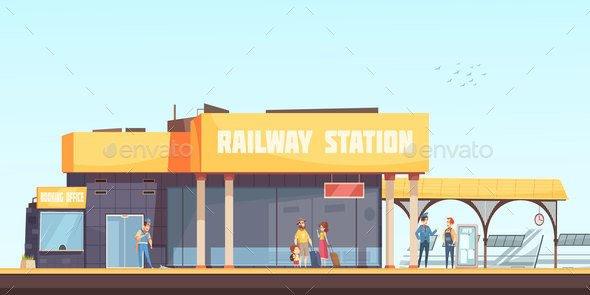 Railway Station Background - Miscellaneous Vectors