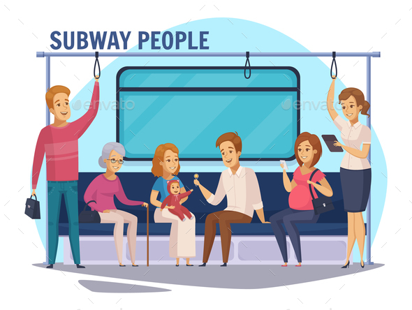 GraphicRiver Subway Underground People Cartoon Composition 20872029