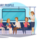 Subway Underground People Cartoon Composition