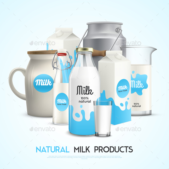 Natural Milk Products Background - Miscellaneous Vectors