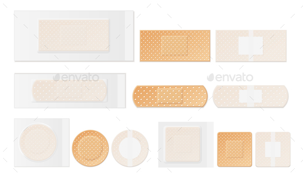 GraphicRiver Medical Plasters Perforated Realistic Set 20872033