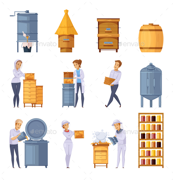 Apiary Honey Production Cartoon Set - Food Objects