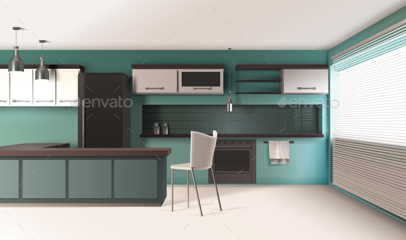 GraphicRiver Contemporary Kitchen Interior Composition 20872042