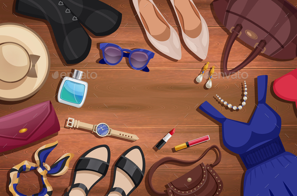 GraphicRiver Women Accessories Illustration Background 20872052