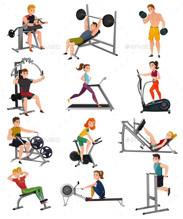 GraphicRiver Exercise Equipment With People Set 20872060