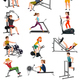 Exercise Equipment With People Set