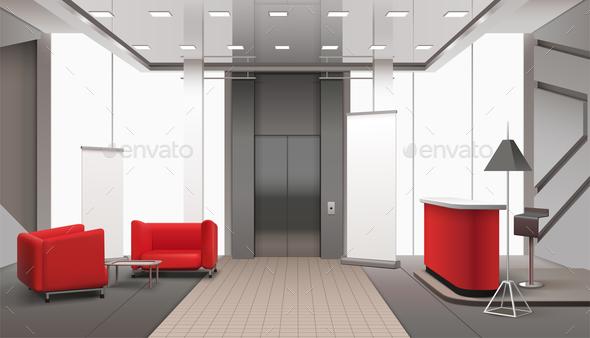 GraphicRiver Lift Lobby Realistic Interior 20872072