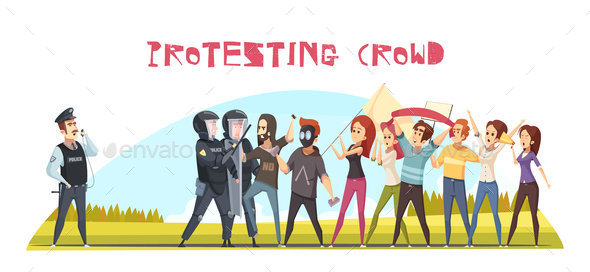 GraphicRiver Protesting Crowd Poster 20872083