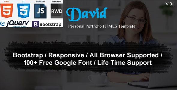 David-Personal Portfolio Template - Corporate Site Templates