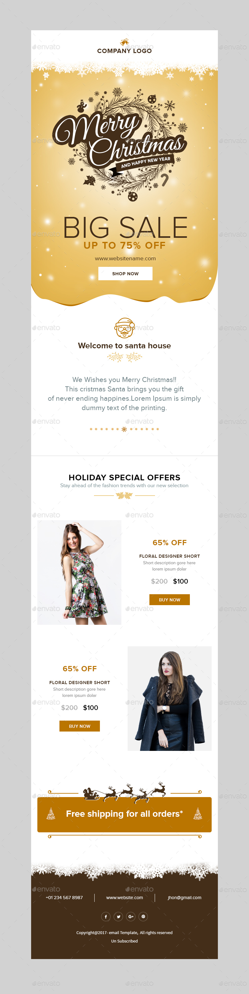 X-mas E-commerce - Christmas Shopping Offer Email Template PSD