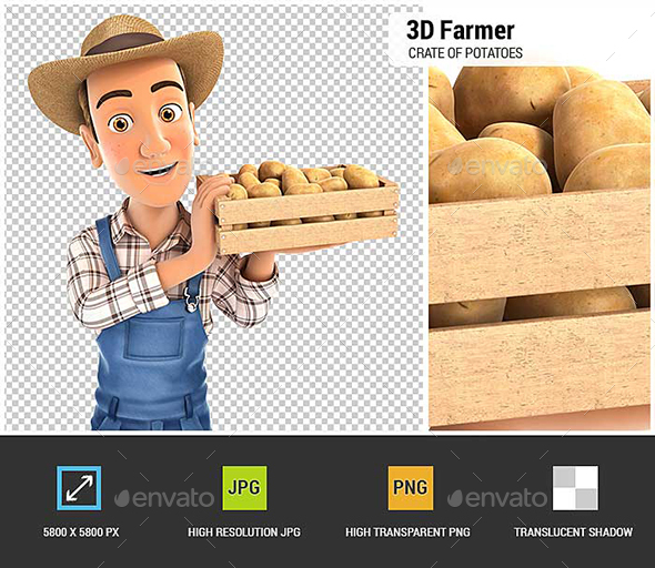3D Farmer Holding Crate of Potatoes - Characters 3D Renders