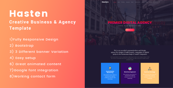 Hasten - Creative One Page Parallax