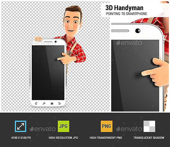 GraphicRiver 3D Handyman Pointing to Blank Smartphone 20872369