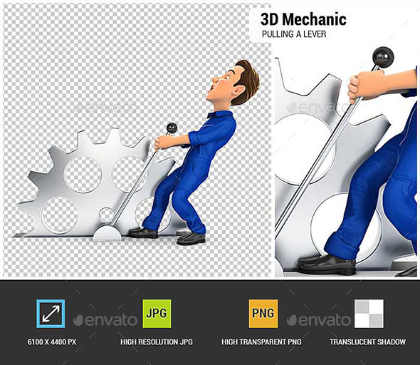 GraphicRiver 3D Mechanic Pulling a Lever 20872399