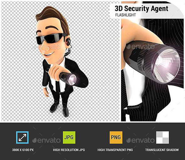 3D Security Agent Holding Flashlight - Characters 3D Renders