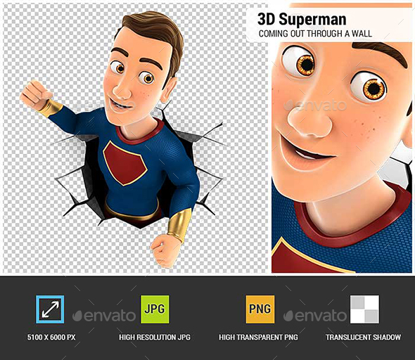 3D Superhero Coming Out Through a Wall - Characters 3D Renders